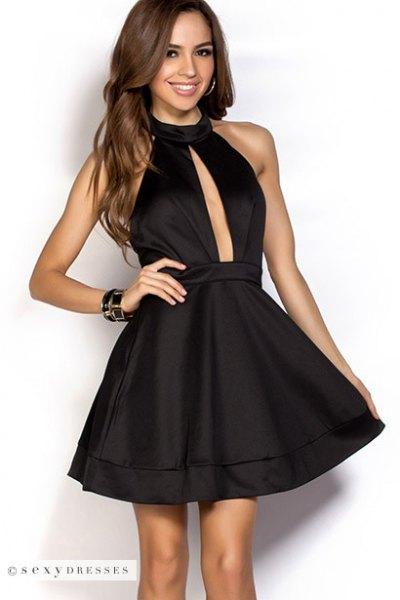 black halter neck plunging neckline skating dress