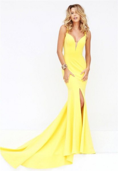 lemon yellow plunging neckline mermaid dress