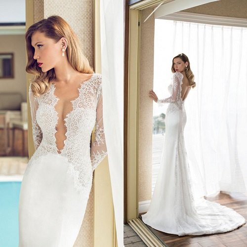 white lace throwing neckline flowing wedding dress