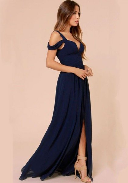 navy cold shoulder dress with high split floor length