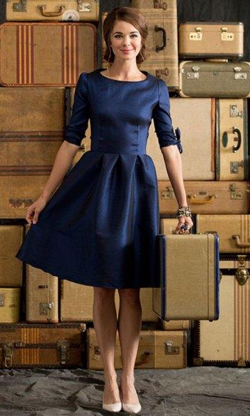 deep blue half-heated skater knee-length party dress