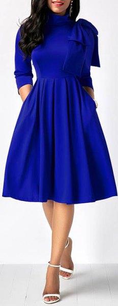 royal blue mock neck midi blown dress