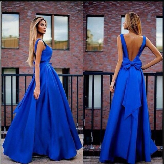 blue backless floor length flared dress