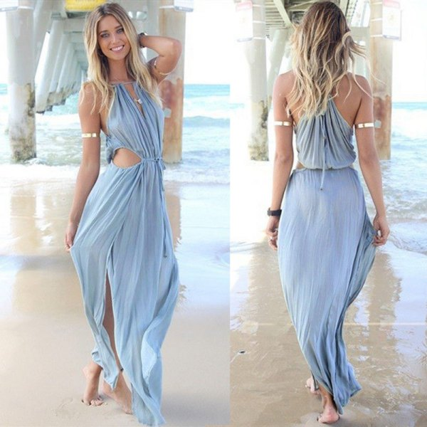 sky blue bandage v neck cutout maxi dress