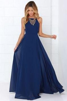 deep blue chiffon maxi blown dress