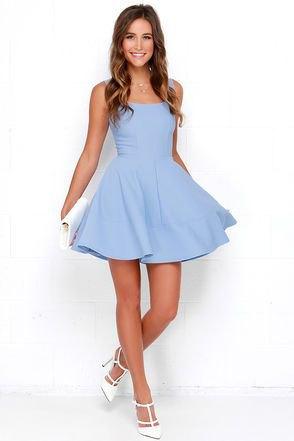 sky blue tank skier mini dress with white heels