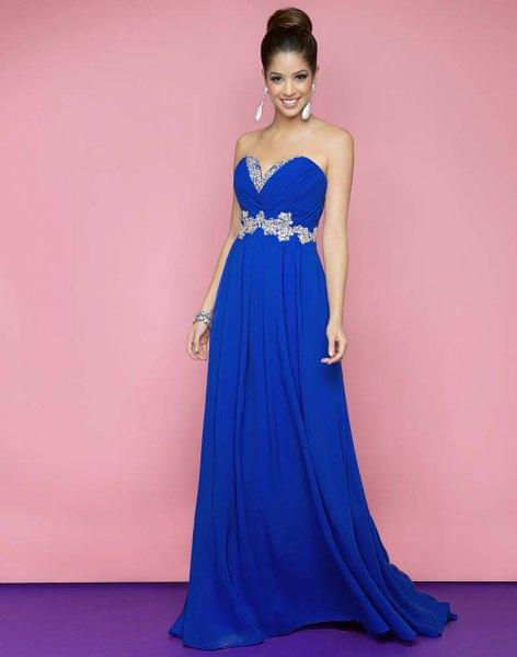 royal blue sweetheart neckline strapless floor length flared dress