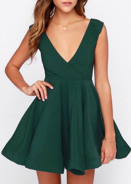 green deep v-skater cocktail dress