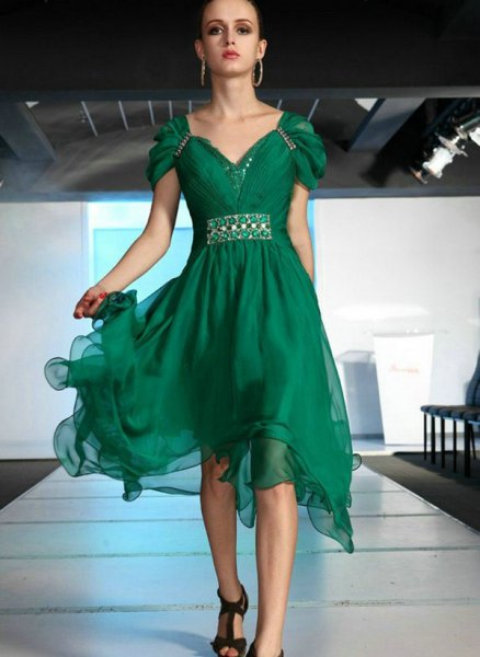 green cap sleeve chiffon midi puffy dress