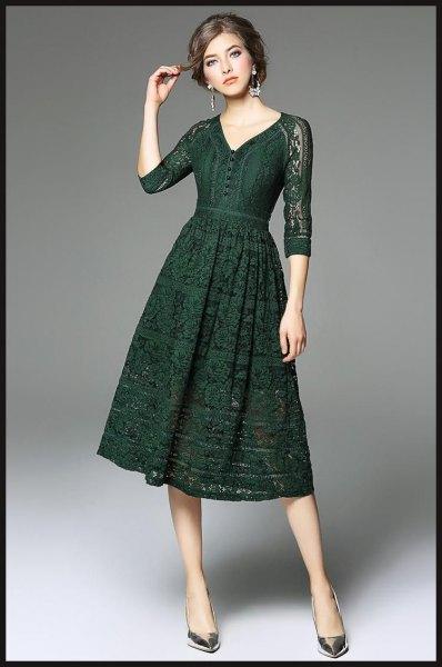 dark green three quarter sleeve lace dress