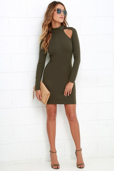 green long-sleeved suede cutout front bodycon mini dress