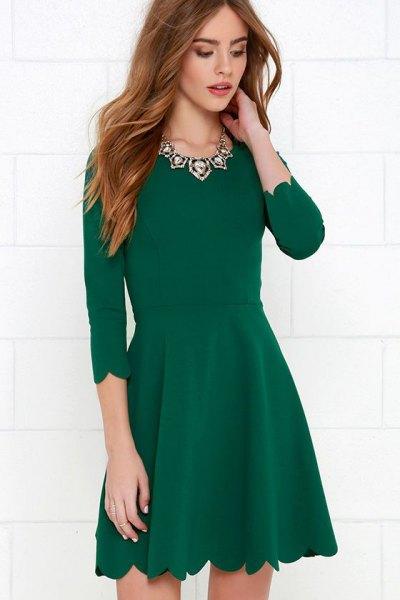 green scalloped home three-quarter sleeve skater cocktail dress