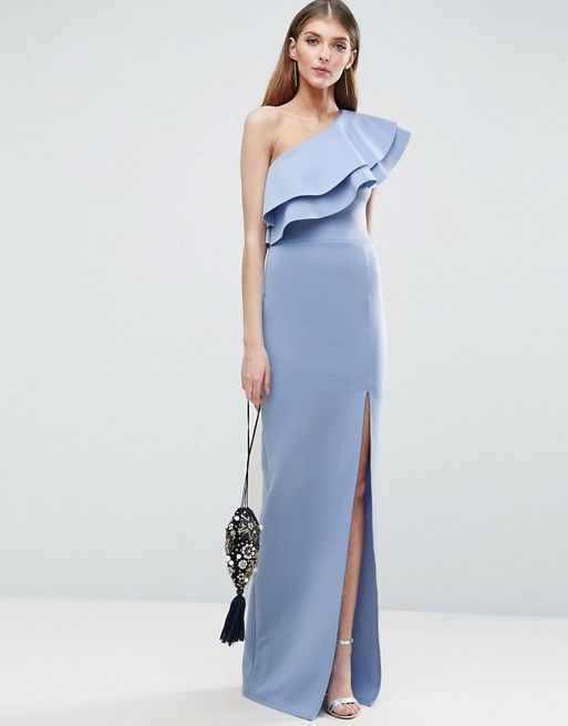 a shoulder maxi dress baby blue