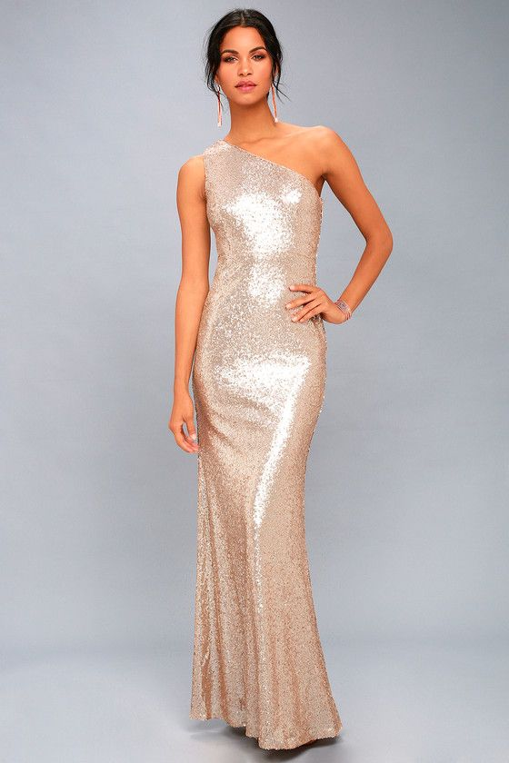 one shoulder maxi dress sequins