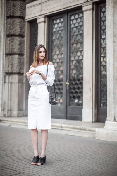 of the shoulder blouse with white midi denim skirt