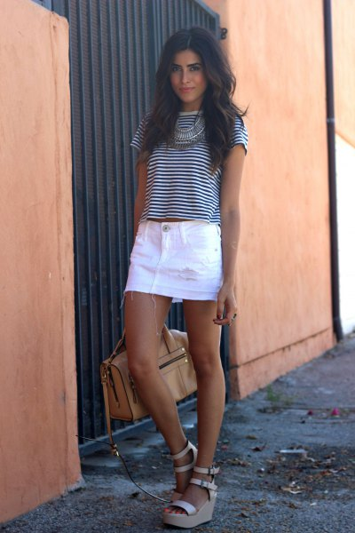 black and white striped t-shirt with white denim skirt