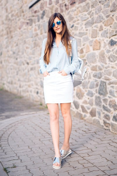light blue button up shirt with white skirt
