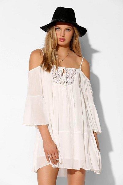 white semi open shoulder chiffon swing dress