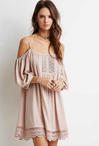 light pink open shoulder lace mini dress