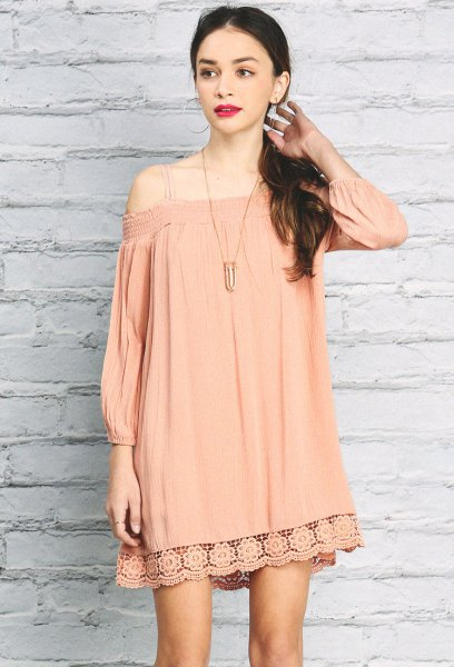 blush pink three quarter sleeve open shoulder mini lace dress
