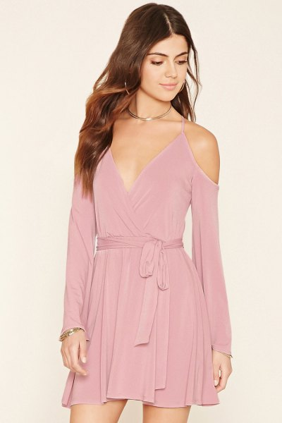 blush pink deep v-neckline waist mini blown velvet dress