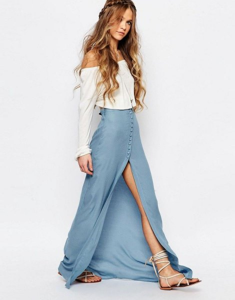 white from the blouse with blue high split denim maxi dress