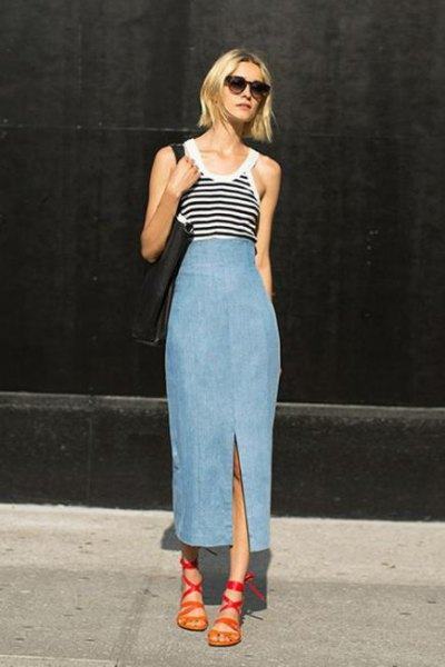gray and black striped vest top with washed denim skirt