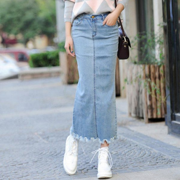 light blue maxi denim skirt with gray and white patterned knit sweater
