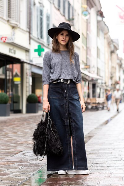 gray halter sweater with dark blue maxi denim skirt