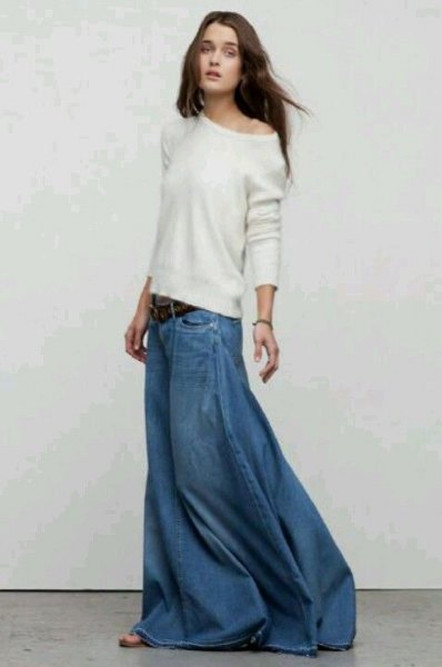 white one shoulder casual fit sweater with floor length denim skirt