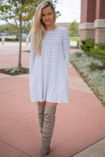 gray and white striped long sleeve swing dress