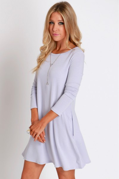 light blue long sleeve swing dress
