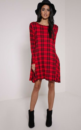 black and red checkered swing dress with floppy hat