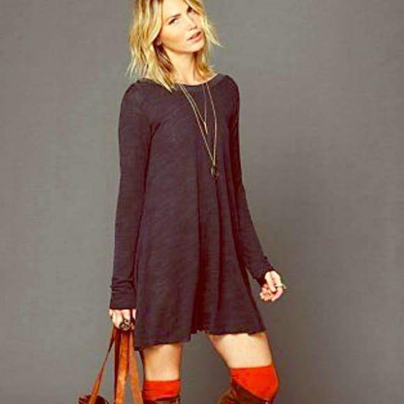 gray long-sleeved swing dress with brown suede high boots