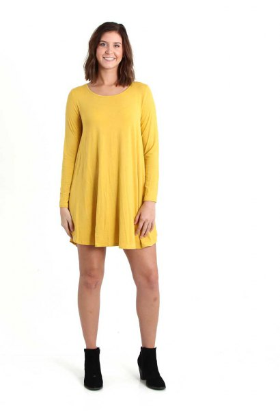 lemon yellow long sleeve dress with boots
