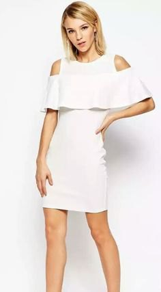 white cold shoulder ruffle mini dress