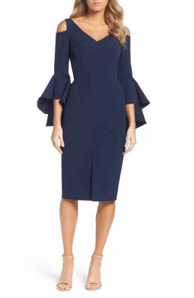 navy watch sleeve cold shoulder midi dress