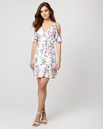 white floral deep v-neck cocktail dress