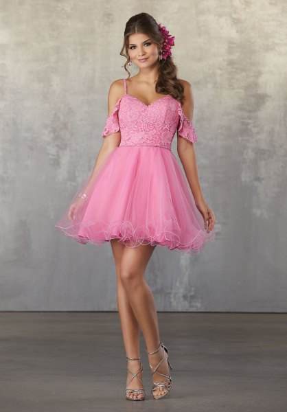 neon pink sweetheart neckline cold shoulder mini tulle dress