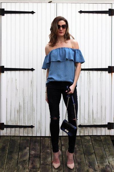 blue denim off the shoulder with black skinny jeans