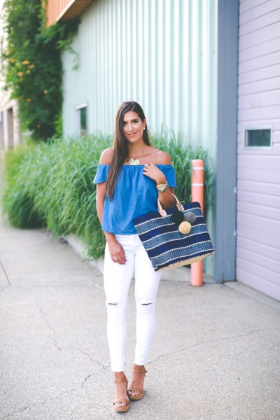 royal blue from the shoulder top with white ripped skinny jeans