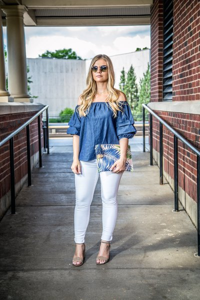 denim from the shoulder top with colorful clutch bag