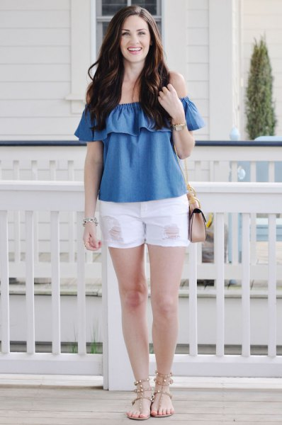 blue off the shoulder denim ruffle top with white mini shorts