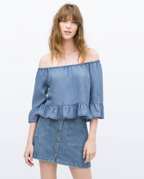 blue denim front mini skirt