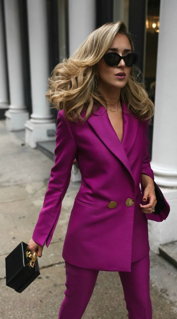 double breasted jacket magenta