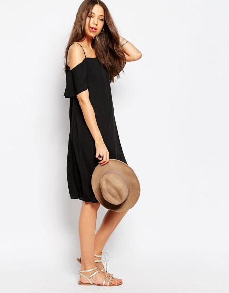 black spaghetti strap cold shoulder dress