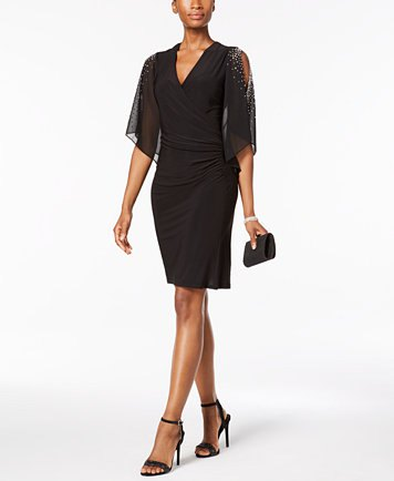 black cold shoulder v-neck dress with chiffon overlay