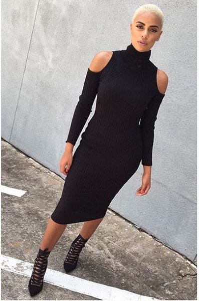 black mock neck cold shoulder bodycon midi dress