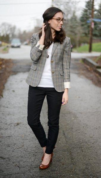 tweed blazer with black slim dress pants