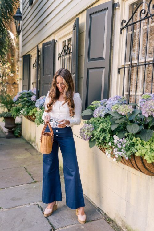 cropped wide leg pants navy blue
